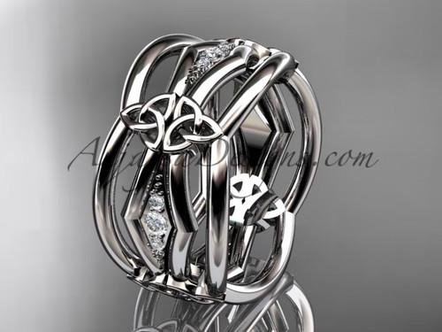 platinum diamond celtic trinity knot wedding band,  triquetra ring, engagement  ring CT7521B