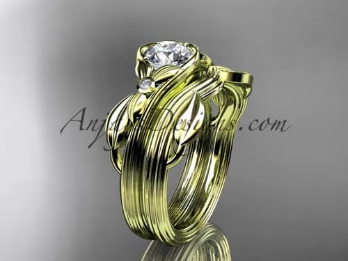 Unique 14kt yellow gold floral engagement set ADLR324S
