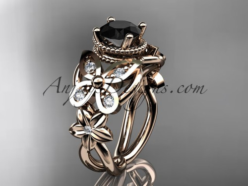 14kt rose gold diamond floral, butterfly wedding ring, engagement ring with a Black Diamond center stone ADLR136