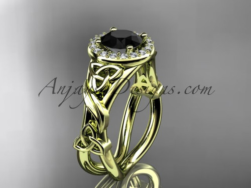 14kt yellow gold diamond celtic trinity knot wedding ring, engagement ring with a Black Diamond center stoneCT7302