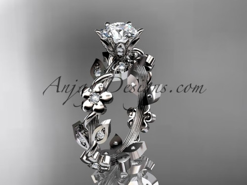Moissanite Leaf and Flower Wedding Ring, Platinum Marriage Ring ADLR209