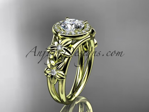 "14kt yellow gold diamond floral wedding ring, engagement ring with a ""Forever One"" Moissanite center stone ADLR131"