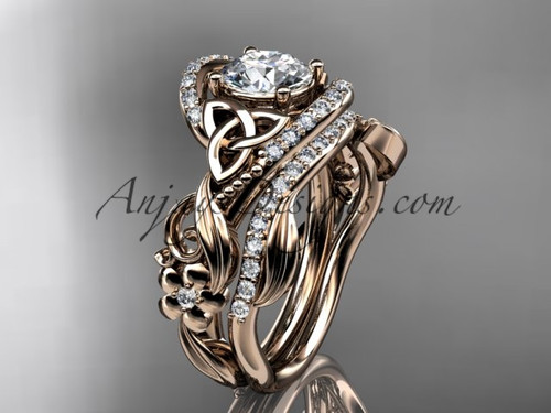 """14kt rose gold diamond celtic trinity knot wedding ring, engagement set with a """"Forever One"""" Moissanite center stone CT7211S"""
