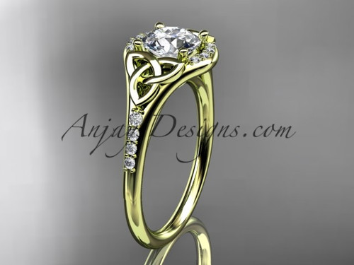 """14kt yellow gold diamond celtic trinity knot wedding ring, engagement ring with a """"Forever One"""" Moissanite center stone CT7126"""