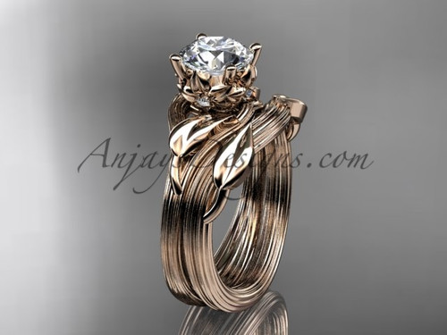 """14kt rose gold diamond flower, leaf and vine wedding ring, engagement set with a """"Forever One"""" Moissanite center stone ADLR240S"""