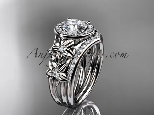 "14kt white gold diamond floral wedding ring, engagement set with a ""Forever One"" Moissanite center stone ADLR131S"