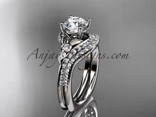 Platinum diamond leaf and vine engagement ring set  ADLR112S