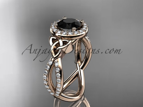 14kt rose gold diamond celtic trinity ring,  triquetra ring, Irish engagement ring with a  Black Diamond center stone CT7374