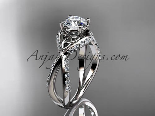 platinum diamond celtic trinity knot wedding ring, engagement ring CT7218