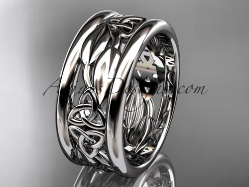 14kt white gold celtic trinity knot wedding band, engagement ring CT7293GA