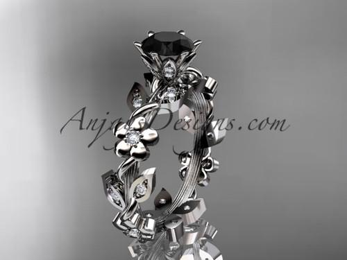platinum diamond leaf and vine engagement ring with a Black Diamond center stone ADLR209