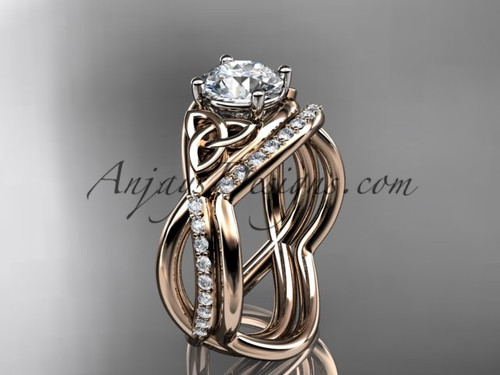 "14kt rose gold celtic trinity knot engagement set, wedding ring with a ""Forever One"" Moissanite center stone CT790S"