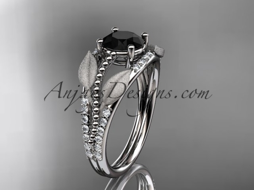 14kt white gold diamond leaf and vine wedding ring, engagement ring with Black Diamond center stone ADLR75