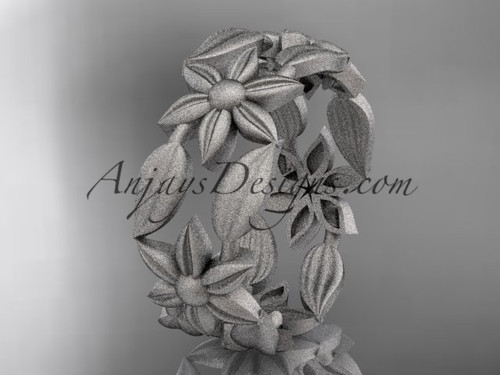 14kt white gold leaf and vine, flower wedding ring, engagement ring, wedding band ADLR344G