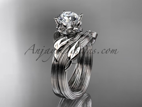 """platinum diamond flower, leaf and vine wedding ring, engagement set with a """"Forever One"""" Moissanite center stone ADLR240S"""