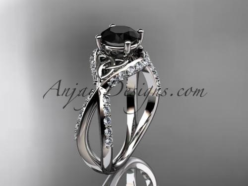 platinum diamond celtic trinity knot wedding ring, engagement ring with a Black Diamond center stoneCT7218