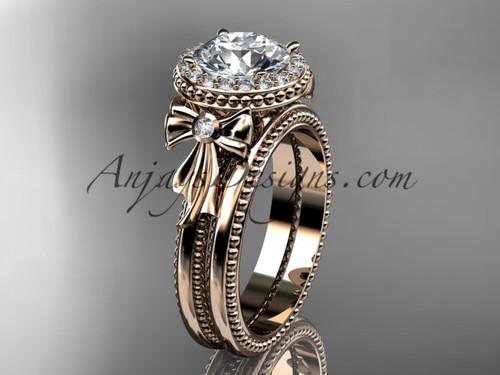 14kt rose gold diamond unique engagement set, wedding ring ADER157S
