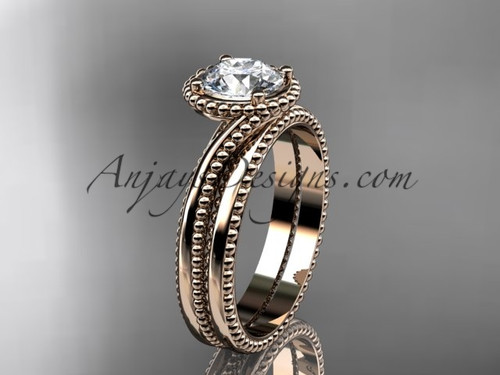"""14kt rose gold  wedding ring, engagement set with a """"Forever One"""" Moissanite center stone ADLR389S"""