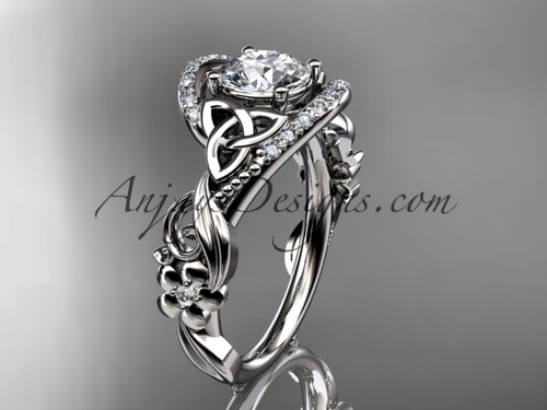Platinum Diamond Flower Ring, Celtic Engagement Ring CT7211