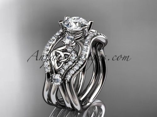 """platinum celtic trinity knot engagement ring, wedding ring with a """"Forever One"""" Moissanite center stone and double matching band CT768S"""