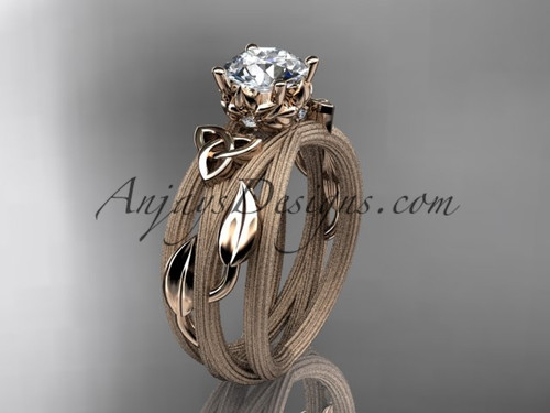 "14kt rose gold diamond celtic trinity knot wedding ring, engagement ring with a ""Forever One"" Moissanite center stone CT7253"