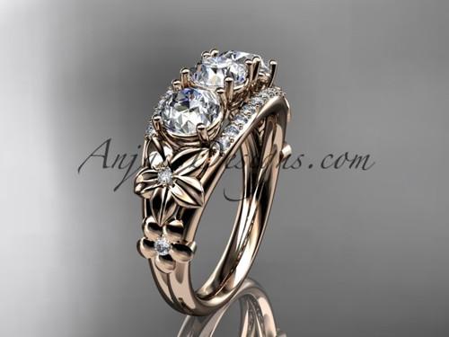 14kt rose gold diamond flower 3 stone Forever One Moissanite wedding ring ADLR203