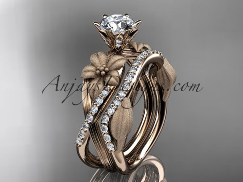 """Unique 14kt rose gold diamond flower, leaf and vine wedding ring, engagement set with a """"Forever One"""" Moissanite center stone ADLR221S"""