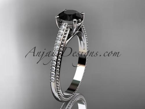 platinum diamond unique engagement ring, wedding ring with Black Diamond center stone ADER87
