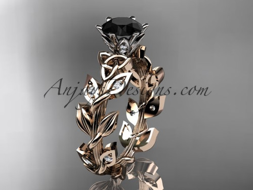 14kt rose gold diamond celtic trinity knot  wedding ring, bridal ring with a  Black Diamond center stone CT7124