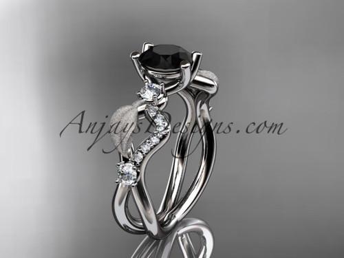 platinum diamond leaf and vine wedding ring, engagement ring with Black Diamond center stone ADLR68