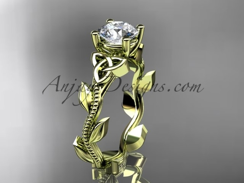 Celtic Rings Ladies, Yellow Gold Leaf Bridal Ring CT7238
