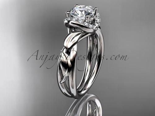 14kt white gold diamond leaf and vine wedding ring, engagement ring ADLR289