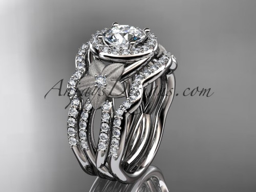 "14kt white gold  diamond floral wedding ring, engagement ring with a ""Forever One"" Moissanite center stone and double matching band ADLR127S"