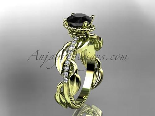 Black Diamond leaf engagement ring leaf engagement ring Yellow Gold Ring Design for Female ADLR231