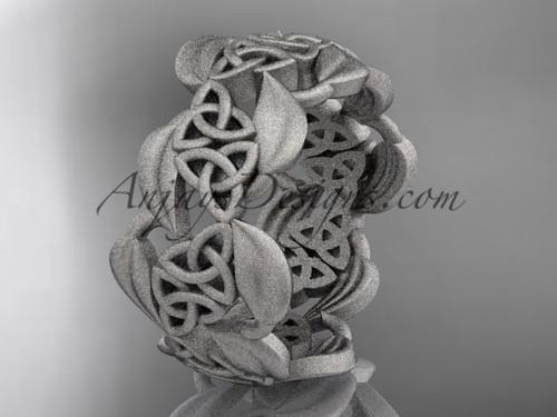 14kt white gold leaf and celtic trinity knot wedding band, matte finish wedding band, engagement ring CT7262G