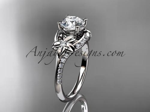 platinum diamond floral wedding ring, engagement ring ADLR125