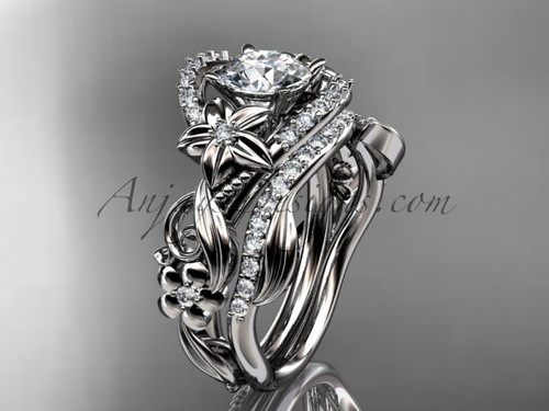 Celtic Wedding Set, Platinum Flower Engagement Ring ADLR211S