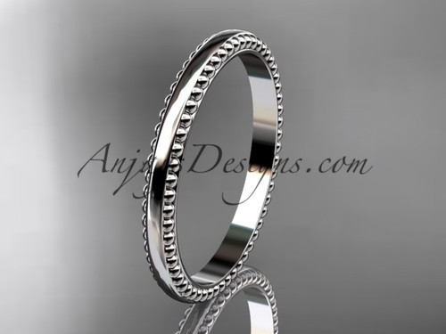 14kt white gold classic wedding band, engagement ring ADLR384G
