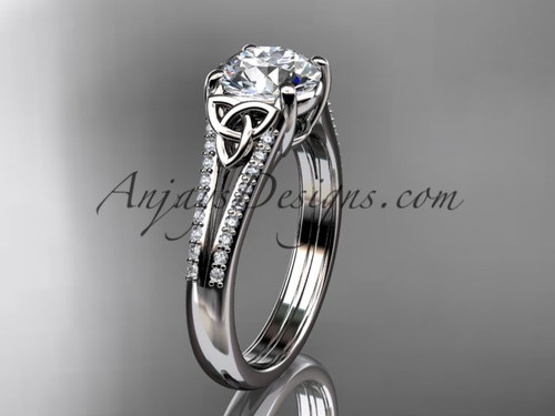 """14kt white gold celtic trinity knot engagement ring ,diamond wedding ring with a """"Forever One"""" Moissanite center stone CT7108"""