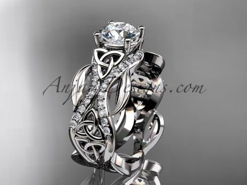 14kt white gold diamond celtic trinity knot wedding ring, engagement ring CT7515