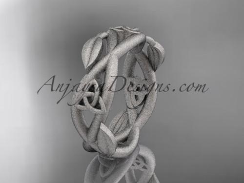platinum celtic trinity knot wedding band, matte finish wedding band,  triquetra ring, engagement  ring CT7403G