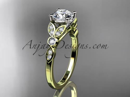 "14k yellow gold unique engagement ring, wedding ring with a ""Forever One"" Moissanite center stone ADLR387"