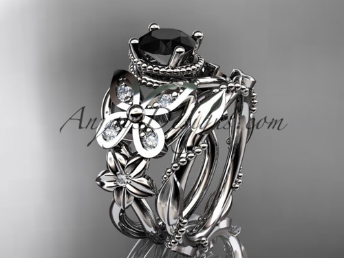 platinum diamond floral, butterfly wedding ring, engagement set with a Black Diamond center stone ADLR136S