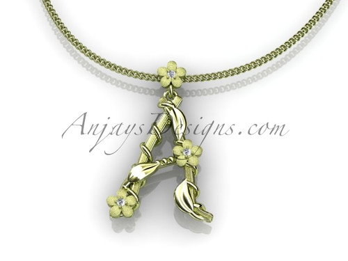 14k yellow gold diamond floral, leaf and vine initial pendant ADLR196