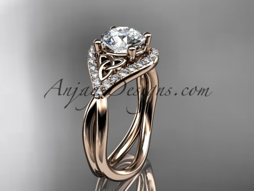 "14kt rose gold diamond celtic trinity knot wedding ring, engagement ring with a ""Forever One"" Moissanite center stone CT7390"