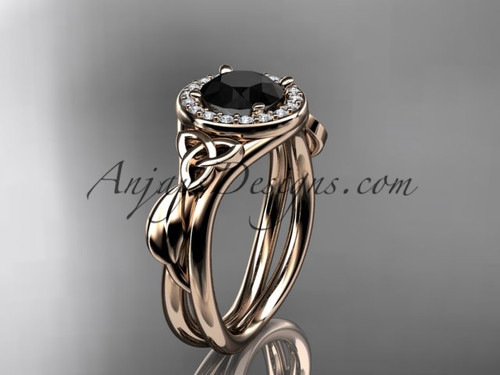 14kt rose gold diamond celtic trinity knot wedding ring, engagement ring with a Black Diamond center stone CT7314