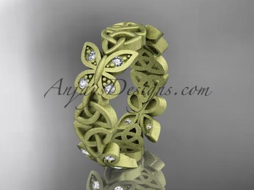 14kt yellow gold diamond celtic trinity knot  matte finish  wedding band, engagement ring CT7420B