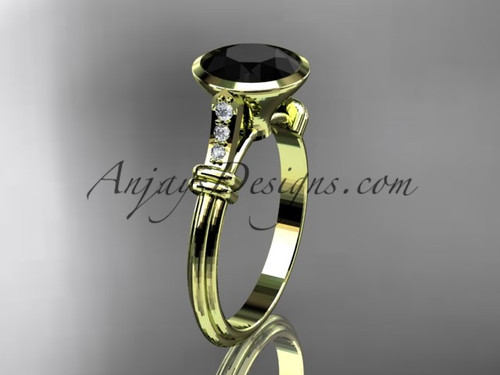 14k yellow gold diamond wedding ring,engagement ring with  Black Diamond center stone ADLR23