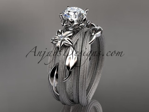 """platinum diamond floral, leaf and vine wedding ring, engagement set with a """"Forever One"""" Moissanite center stone ADLR253S"""