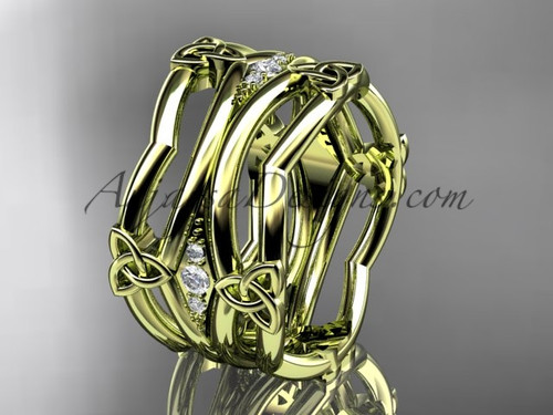 14kt yellow gold diamond celtic trinity knot wedding band,  triquetra ring, engagement  ring CT7351B